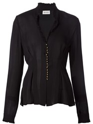 Beau Souci Fitted Button Blouse Black