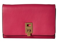 Michael Kors Miranda Medium Wallet With Shoulder Strap Geranium Cross Body Handbags Pink