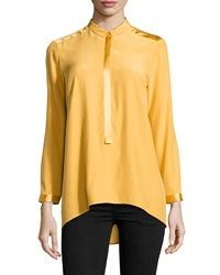Lafayette 148 New York Chelsea Half Placket High Low Tunic Sunflower