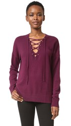 The Kooples Lace Up Pullover Burgundy