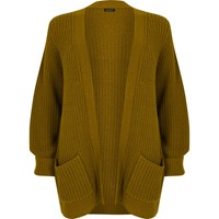 River Island Womens Plus Green Chunky Knit Cardigan