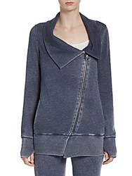 Andrew Marc New York Asymmetrical Zip Front Sweatshirt Midnight