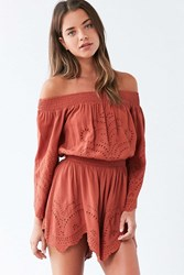 Astr Sofia Cutwork Off The Shoulder Romper Brown
