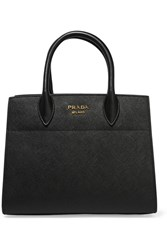 Prada Bibliotheque Textured Leather Tote Black