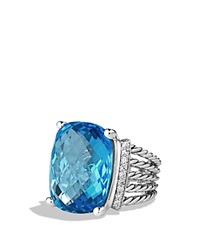 David Yurman Wheaton Ring With Blue Topaz And Diamonds Silver