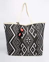 South Beach Straw Bag In Aztec Print Black