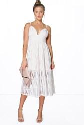 Boohoo Boutique Embroidered Organza Plunge Midi Dress Ivory