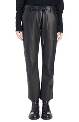 Women's Ann Demeulemeester Tie Waist Leather Crop Pants