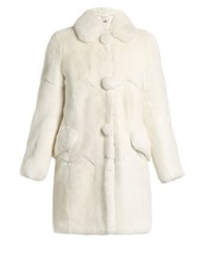 Miu Miu Round Collar Rabbit Fur Coat White