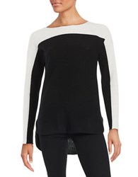Lord And Taylor Colorblocked Cashmere Sweater Black White