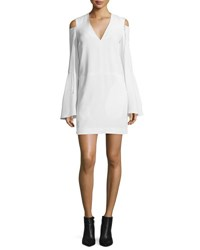 Derek Lam Bell Sleeve Cold Shoulder Dress White