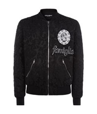 Dolce And Gabbana Brocade Baseball Jacket Black