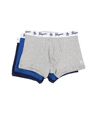 Original Penguin 100 Cotton 3 Pack Trunk Heather Grey Classic Blue Medieval Blue Men's Underwear Multi