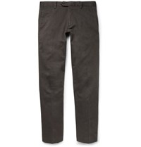 Nn.07 Theo Slim Fit Melange Stretch Cotton Blend Twill Chinos Brown