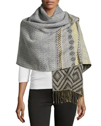 Theodora And Callum Diamond Print Fringe Blanket Wrap Ivory