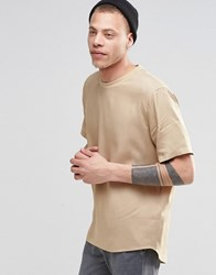 Asos Woven Boxy Tee In Camel With Short Sleeves Camel Beige