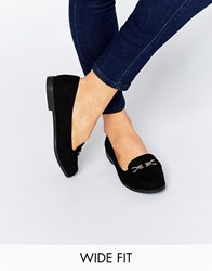 New Look Wide Fit Buckle Flat Shoes Black