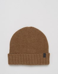 Selected Homme Beanie In Textured Knit Beige