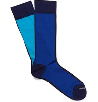Marcoliani In And Out Pima Cotton Blend Extra Long Socks Blue