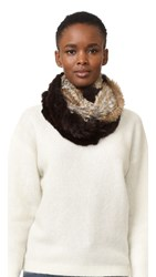Adrienne Landau Knit Fur Combo Loop Scarf Brown