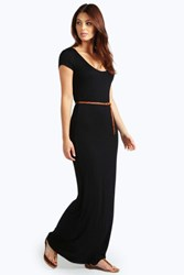 Boohoo Cap Sleeve Belted Maxi Dress Black