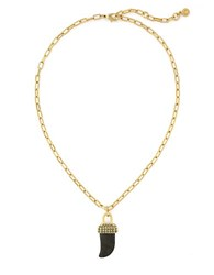 Louise Et Cie Au Naturel Pyrite Horn Necklace Black