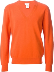 Tomas Maier V Neck Sweater Yellow And Orange