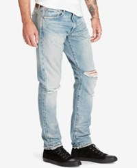 Denim And Supply Ralph Lauren Men's Slim Fit Sawyer Light Wash Deconstructed Jeans