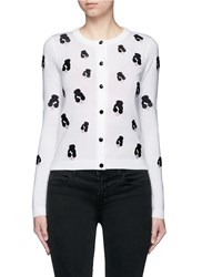 Alice Olivia 'Stacey' Emoji Patch Wool Cardigan White Multi Colour