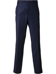 Isaia Fitted Trousers Blue
