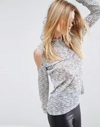 Asos Hoodie With Cold Shoulder In Textured Lightweight Stripe Multi