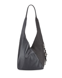Canotta Smooth Woven Hobo Bag Black Dark Gray Henry Beguelin