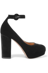 Gianvito Rossi Velvet Platform Pumps Black