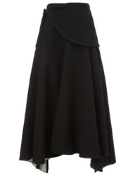 Derek Lam Black Bias Cut Wrap Skirt