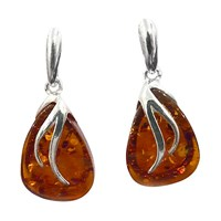 Goldmajor Amber And Silver Drop Earrings