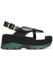 Marni Crossover Platform Sandals Black