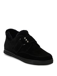 Stuart Weitzman Fur Sure Faux Fur Lined Suede Sneakers Black