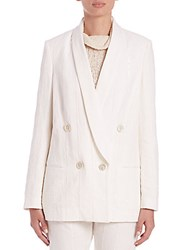 Brunello Cucinelli Double Breasted Paillette Pinstripe Blazer White