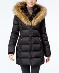 Inc International Concepts Faux Fur Trim Puffer Coat Only At Macy's Black