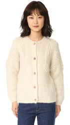 Intropia Floral Embroidered Cardigan Ivory