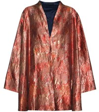 The Row Tere Silk Blend Metallic Jacquard Jacket Red