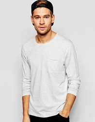 Selected Homme Long Sleeve Top With Raw Edge Light Gray Marl