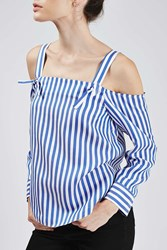 Striped Off The Shoulder Shirt By Boutique Multi