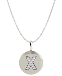 Macy's 14K White Gold Necklace Diamond Accent Letter X Disk Pendant