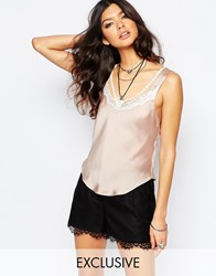 Reclaimed Vintage Silky Cami Top With Lace And Sexy Strap Detail Nude