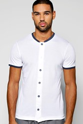 Boohoo Collar Pique Button Through T Shirt White