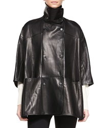 Vince Double Breasted Leather Cape