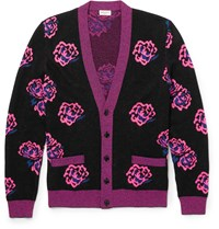 Saint Laurent Rose Jacquard Wool Blend Cardigan Black