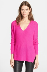 Autumn Cashmere Shaker Stitch Cashmere V Neck Sweater Pink