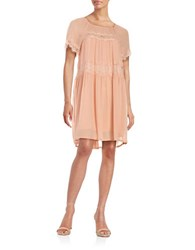 French Connection Floral Trim Sheath Dress Peach